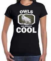 Dieren sneeuwuil t shirt zwart dames owls are cool shirt