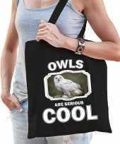 Dieren sneeuwuil tasje zwart volwassenen en kinderen owls are cool cadeau boodschappentasje