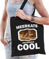 Dieren stokstaartje tasje zwart volwassenen en kinderen meerkats are cool cadeau boodschappentasje