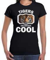 Dieren tijger t shirt zwart dames tigers are cool shirt
