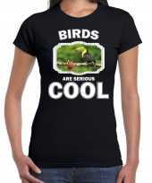 Dieren toekan t shirt zwart dames birds are cool shirt