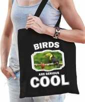 Dieren toekan tasje zwart volwassenen en kinderen birds are cool cadeau boodschappentasje