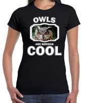 Dieren uil t shirt zwart dames owls are cool shirt