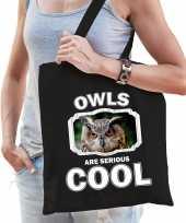 Dieren uil tasje zwart volwassenen en kinderen owls are cool cadeau boodschappentasje