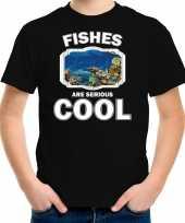 Dieren vis t shirt zwart kinderen fishes are cool shirt jongens en meisjes