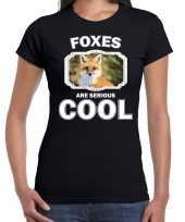 Dieren vos t shirt zwart dames foxes are cool shirt