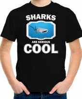 Dieren walvishaai t shirt zwart kinderen sharks are cool shirt jongens en meisjes