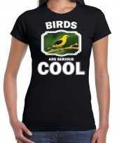 Dieren wielewaal vogel t shirt zwart dames birds are cool shirt
