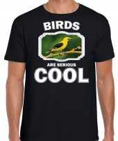 Dieren wielewaal vogel t shirt zwart heren birds are cool shirt