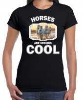 Dieren wit paard t shirt zwart dames horses are cool shirt