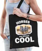 Dieren witte paarden tasje zwart volwassenen en kinderen horses are cool cadeau boodschappentasje