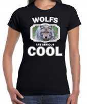 Dieren wolf t shirt zwart dames wolfs are cool shirt