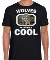 Dieren wolf t shirt zwart heren wolfs are cool shirt 10253309