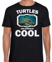 Dieren zee schildpad t shirt zwart heren turtles are cool shirt