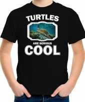 Dieren zee schildpad t shirt zwart kinderen turtles are cool shirt jongens en meisjes