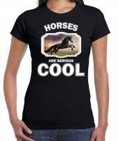 Dieren zwart paard t shirt zwart dames horses are cool shirt