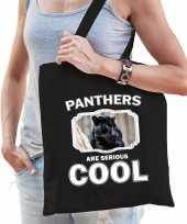 Dieren zwarte panter tasje zwart volwassenen en kinderen panthers are cool cadeau boodschappentasj