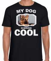 Duitse herder honden t shirt my dog is serious cool zwart voor heren