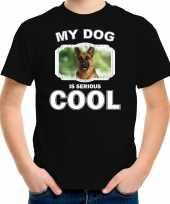 Duitse herder honden t-shirt my dog is serious cool zwart voor kinderen 10256727