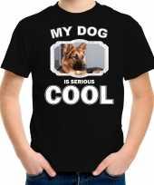 Duitse herder honden t shirt my dog is serious cool zwart voor kinderen