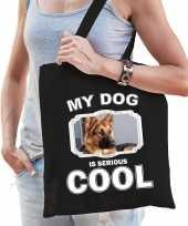Duitse herder honden tasje zwart volwassenen en kinderen my dog serious is cool kado boodschappent