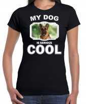 Duitse herdershonden t shirt my dog is serious cool zwart voor dames