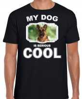 Duitse herdershonden t shirt my dog is serious cool zwart voor heren