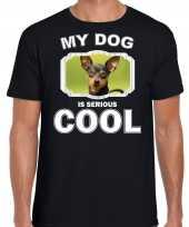 Dwergpinscher honden t shirt my dog is serious cool zwart voor heren