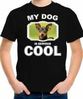 Dwergpinscher honden t shirt my dog is serious cool zwart voor kinderen