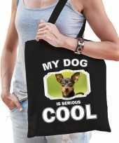 Dwergpinscher honden tasje zwart volwassenen en kinderen my dog serious is cool kado boodschappent