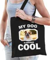Engelse bulldog honden tasje zwart volwassenen en kinderen my dog is cool kado boodschappen 10254076