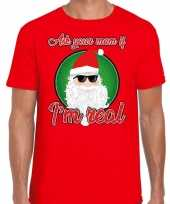 Fout kerstshirt cool santa i am real rood voor heren