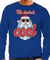 Foute kersttrui stoere kerstman this dude is cool blauw heren