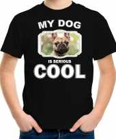 Franse bulldog honden t shirt my dog is serious cool zwart voor kinderen