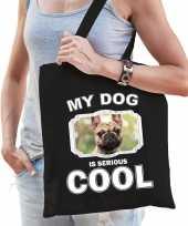Franse bulldog honden tasje zwart volwassenen en kinderen my dog serious is cool kado boodschappen