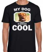 Franse mastiff honden t shirt my dog is serious cool zwart voor heren