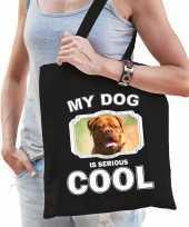 Franse mastiff honden tasje zwart volwassenen en kinderen my dog serious is cool kado boodschappen
