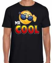 Funny emoticon t-shirt mr cool zwart heren