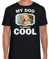 Golden retriever honden t shirt my dog is serious cool zwart voor heren 10254032