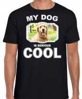 Golden retriever honden t shirt my dog is serious cool zwart voor heren
