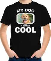 Golden retriever honden t shirt my dog is serious cool zwart voor kinderen 10256733