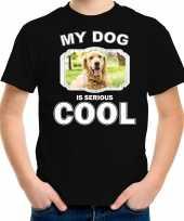 Golden retriever honden t shirt my dog is serious cool zwart voor kinderen
