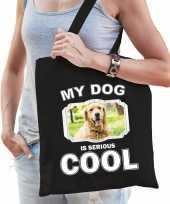 Golden retriever honden tasje zwart volwassenen en kinderen my dog serious is cool kado boodschapp