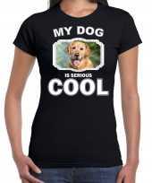 Golden retrievers honden t-shirt my dog is serious cool zwart voor dames
