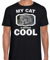 Grijze kat katten poezen t-shirt my cat is serious cool zwart voor heren