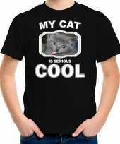 Grijze kat katten poezen t-shirt my cat is serious cool zwart voor kinderen