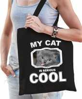 Grijze kat katten tasje zwart volwassenen en kinderen my cat serious is cool kado boodschappentasj