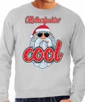 Grote maten kersttrui kerstman motherfucking cool grijs heren
