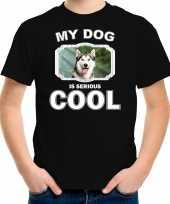 Husky honden t-shirt my dog is serious cool zwart voor kinderen 10256732
