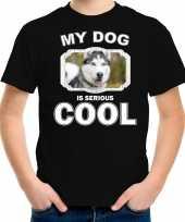 Husky honden t shirt my dog is serious cool zwart voor kinderen
